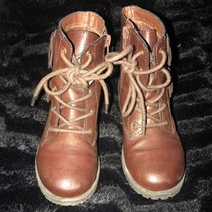 Chocolate Brown NINA Combat Boot! Kids Size 11c!